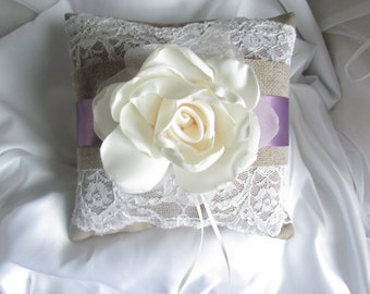 ON SALE Burlap and Lace Ring Bearer Pillow with Ribbon - Rustic Ring Bearer Pillow - Your choice of ribbon