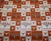 "University  of TEXAS   "" LONGHORNS "" Squares  style - 1  YARD  Piece - 100% Cotton New Design"