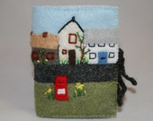 Embroidered Needle Book - Village in Springtime - stitched in felt