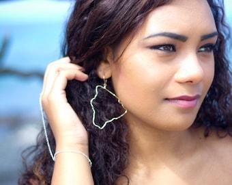 Hawaii Big Island Earrings Sterling Silver Hawaii Jewelry large