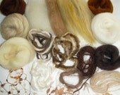 Lots of small Wool and Yarn pieces for Spinning and Felting