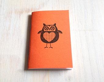 Small Notebook: Owl Notebook, Orange, Fall, Jotter, Cute, Kids, Unique, Journal, Stamped, Thanksgiving, Halloween, Stocking Stuffer, D100