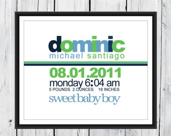 Modern Boy Birth Announcement Print - Birth Info Print -  Custom Colors and Size