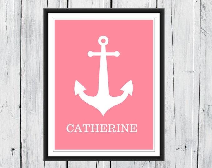 Nautical Nursery - Anchor Name Print -  Choose Color and Size