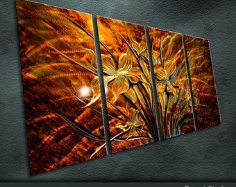 """Large Original Metal Wall Art Modern Abstract Painting Sculpture Indoor Outdoor Decor """"Enchanting Floweret"""" by Ning"""