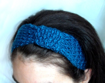 Women's Knitted bow Headband - Teal