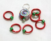 Rings and Rainbow Stitch Marker Set of 7