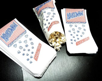 50 Popcorn Bags, Food Safe treat bags,10.5 X 5.5 inch Goody Duro bags, Grease resistant Popcorn Bags, Flat Popcorn bags, Concession Bags
