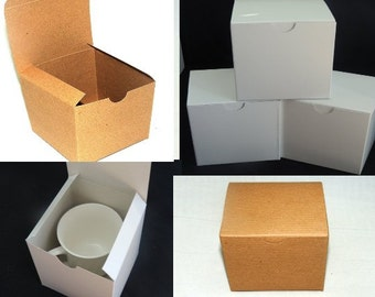 Lot of 20 4x4x4 Kraft and White gloss Fold and Tuck Gift Boxes, Kraft Favor Box, Kraft Packaging, Small Kraft Box, Kraft tuck Box, Gift Box