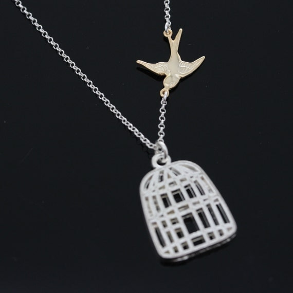 Bird Cage Necklace - Welcome Back home Necklace, Just Married, Newlyweds, Gold Bird Necklace, Flying Sparrow necklace, Getting New home Gift