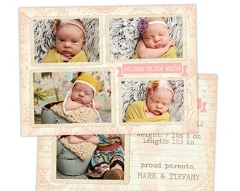 Birth Announcement Template for Photographers Photo Card Template Photography Birth Announcement Photoshop Card Template - BA118
