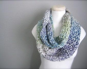 Crochet Light Blue, Teal, Lavender, Spring Green, Cream Handmade Infinity Scarf, Women's Scarf, Men's Scarf, Unisex Scarf