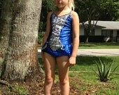 Precious blue and silver childrens bodysuit/leotard