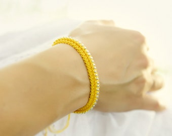 Bright Yellow silver friendship bracelet  beaded crochet jewelry. Holiday gift idea for best friends