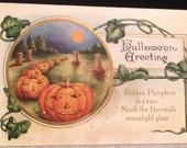 Whitney Made Golden Pumpkins Halloween Postcard