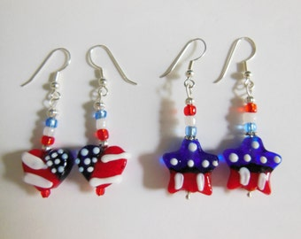 Patriotic American Flag Heart Earrings - glass holiday earrings, red, white and blue Valentines, fashion jewelry