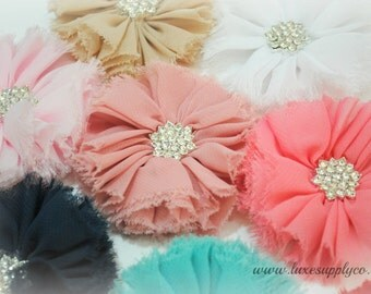 Vintage Shabby Frayed Ballerina Flowers with Rhinestone Center - You Choose the Colors - Fabric Flowers for DIY Headbands - Bulk Flowers