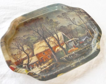 Vintage Currier and Ives Metal Snack Tray, Rustic Holiday Decor