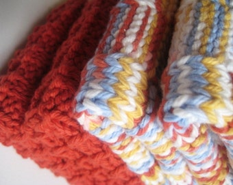 Soft Natural Dish Cloths  Hand Knit  Paprika Orange Soft Blue Cornmeal Yellow Print