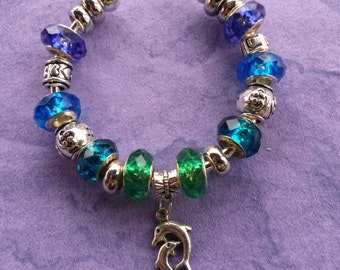 Dolphin dance in the waves, Euro style Bracelet