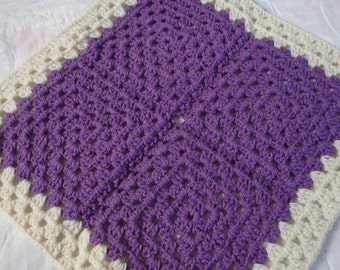Crocheted afghan for dolls, purple and ecru, granny square