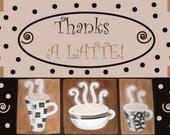 "Printable Thanks a Latte Card - 4x6"" or 5x7"" - Greeting|Thank You|Espresso|Coffee|Gracias|Swirls|Merci|Friends|Mocha|Dots|Teachers|Gift|Mug"