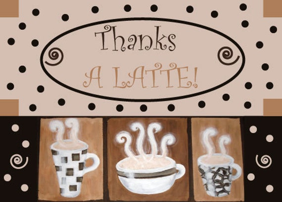 """Items similar to Printable Thanks a Latte Card - 4x6"""" or ..."""