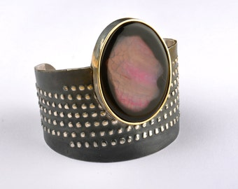 Sterling Silver, Gold Agate Bracelet - Purple Statement Cuff - Gifts for her