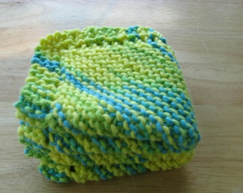 Yellow and Green Knitted Dish Cloths
