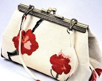 Clutch Purse Cherry Blossom & Cream,  Bridesmaid Clutch Bag, Handmade Handbag Metal Frame Purse by WhiteCross Designs in USA Ready to Ship