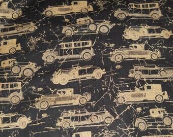 "Antique Cars Sunday Drive fabric 1 yard x 43"" wide new 100% cotton black APH metallic gold"