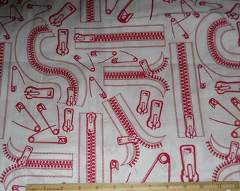 """Zippers and Safety Pins fabric 1 yard x 42"""" wide new cotton"""
