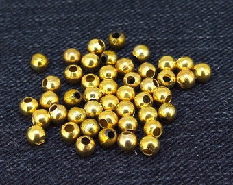 100 pcs of charm hole 2mm Round 4mm filigree balls  yellow gold  plated  beads metal findings Beads  100Pieces 2AKS