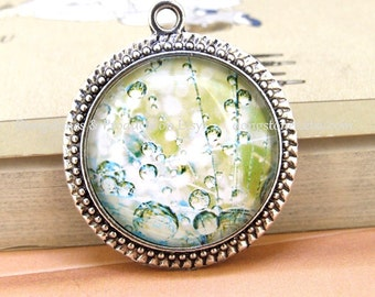 Circle Charm Candy Bubbles of water Dewdrop Antique Bronze Silver Round Pendant  Tray Round Cabochon Pendant Kits Photo Clear Glass Ornament