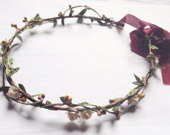 Tinkerbells berry garland hair crown wreath - cream roses, golden pip berries and leaves, bridal, festival, weddings floral flower hair