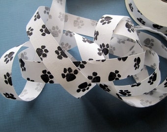 "Dog Paw Prints Cotton Ribbon Trim, White / Black, 7/8"" inch wide, 1 yard, For Scrapbook, Stationery, Gifts,  Decor, Accessories, Mixed Media"