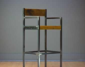 industrial stool, bar stool, counter stool, stool, industrial, reclaim, reclaim wood, furniture, home décor, handmade, minimalist, reclaim