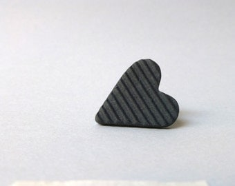 Heart pin, colored porcelain jewelry,  anthracite pin, modern jewelry, valentines, small black heart
