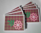 Set of 8  Pink Flower Mini Cards with No Envelopes