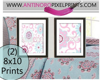 Brooklyn Art Baby Nursery Art Prints Collection  -Set of (2) - 8x10 Prints -Baby Pink Blue White   (UNFRAMED)