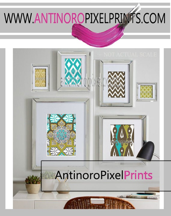 green turquoise brown ikat collage art wall gallery digital. Black Bedroom Furniture Sets. Home Design Ideas