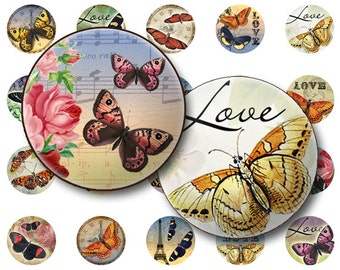 50% OFF SALE Butterflies collage sheet Digital Collage sheet 1x1 inch for jewelry circle pendants & magnets  digital collage sheet