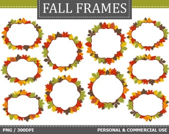 70% OFF SALE 10 Digital Autumn Frames Labels Clip Art Autumn, Fall, Leaves Frames Clip Art,