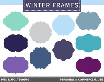 BUY 1 GET 1 FREE - 10 Digital Winter Frames Labels Clip Art Winter, Frost, Snow, Blue Frames Clip Art. Commercial and Personal use