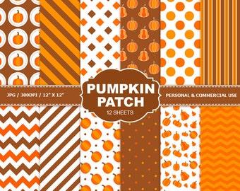70% OFF SALE 12 Pumpkin Patch Digital Scrapbook Paper, digital paper patterns for card making, invitations, scrapbooking