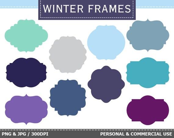 10 Digital Winter Frames Labels Clip Art Winter Frost Snow