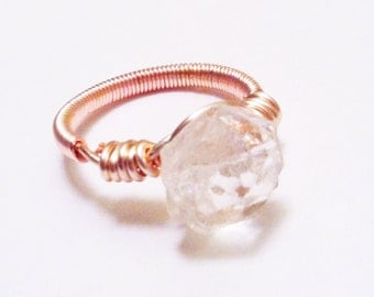 Vintage Glass Button Ring - Icicle