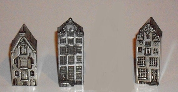 RESERVED Vintage Pewter Houses, Collectible Miniatures, Dutch, Hallmarked, Set of 3