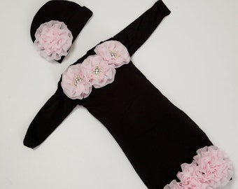 Infant Baby Layette Black Cotton Baby Gown with Pink Chiffon Flowers and Rhinestones