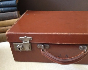 England Leather Briefcase with Snaps, Top Handle Suitcase Monogrammed